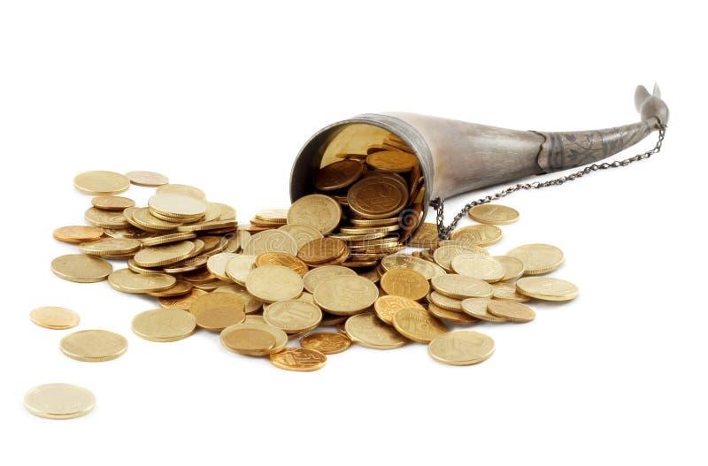 Osso do Cornucopia completamente da moeda de ouro fotos de stock