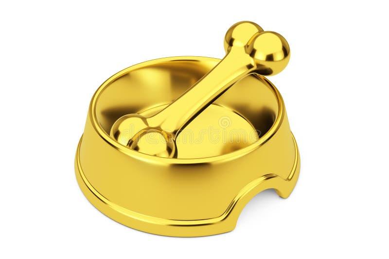 Osso dorato di masticazione del cane in ciotola dorata per il cane rappresentazione 3d fotografia stock libera da diritti
