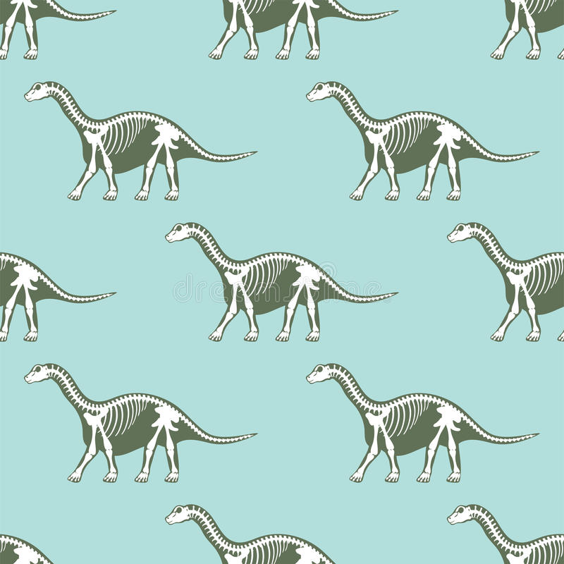Osso senza cuciture del fossile del modello delle siluette degli scheletri dei dinosauri illustrazione vettoriale