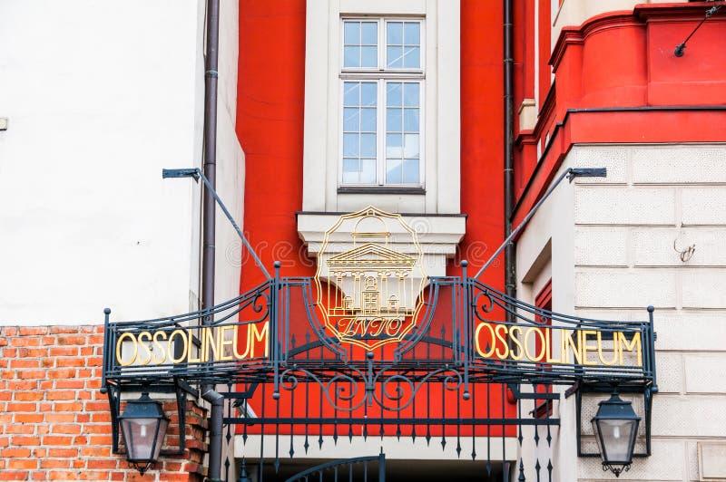 Ossolineum Nationale Bibliotheek, Wroclaw, Polen stock foto's