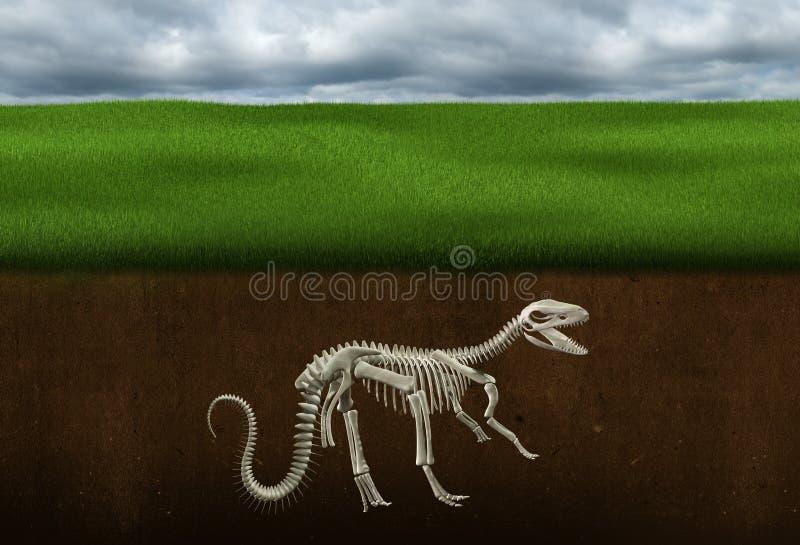 Ossos de dinossauro, fóssil, paleontologia, esqueleto ilustração do vetor