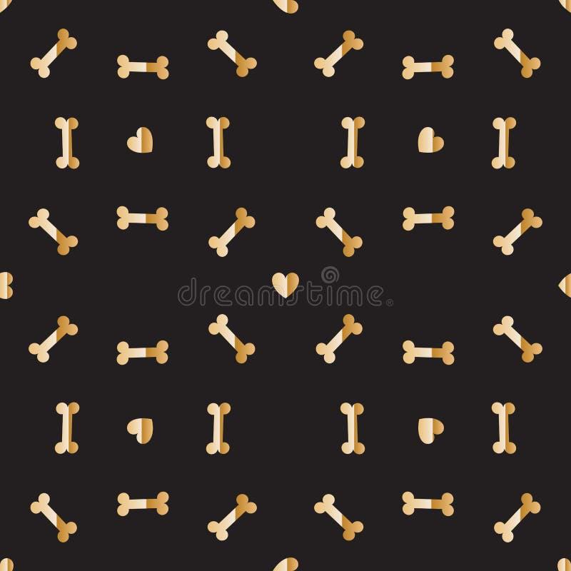 Ossos e corações dourados luxuosos para o cão Teste padrão sem emenda ilustração do vetor