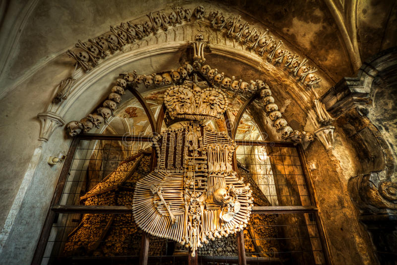 Ossuary near Kutna Hora. Human bones and skulls in the Sedlec Ossuary near Kutna Hora, Czech Republic royalty free stock photos