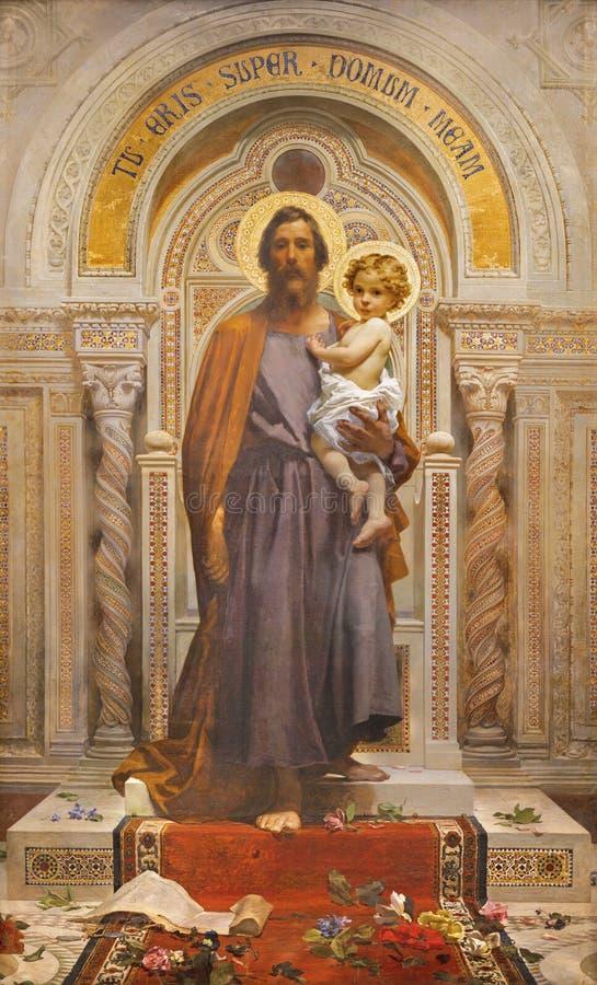 OSSUCIO, ITÁLIA - 8 DE MAIO DE 2015: O afresco de São José na igreja Sacro Monte della Beata Vergine del Soccorso por F Grandi imagens de stock