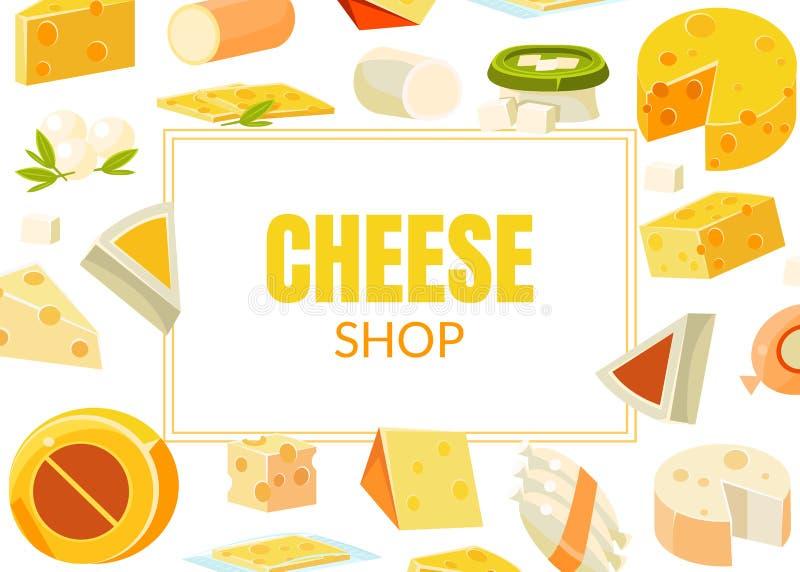 Ost shoppar banermallen, naturliga mejeriprodukter som annonserar olika typer av ostvektorillustrationen vektor illustrationer