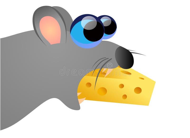 ost som äter musen royaltyfri illustrationer