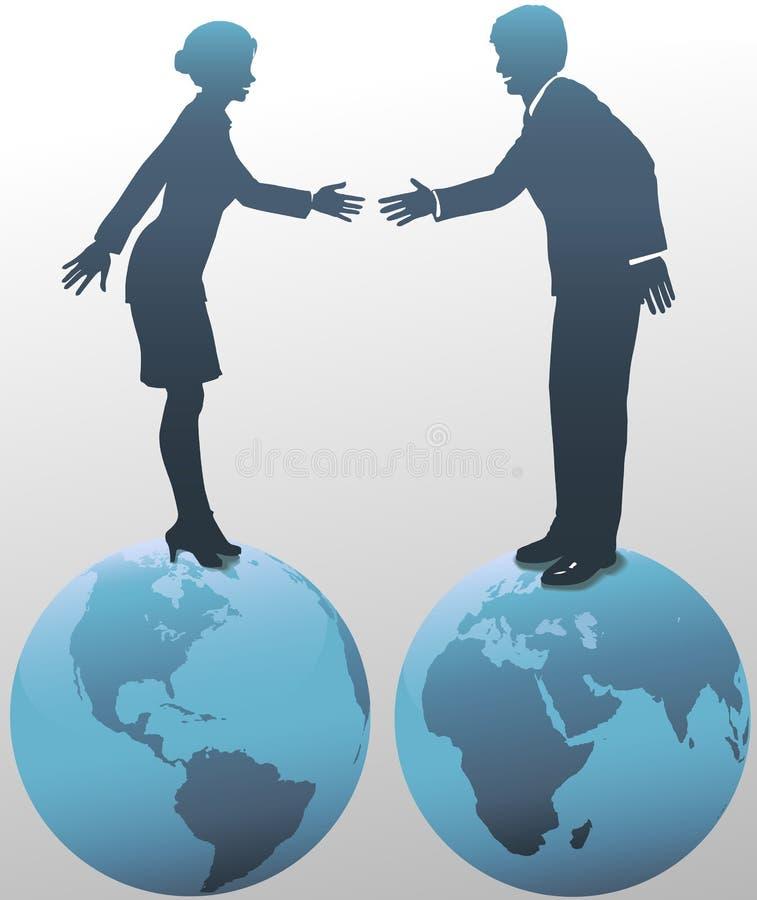 Ost-WestGeschäftsleute auf Weltkugeln stock abbildung