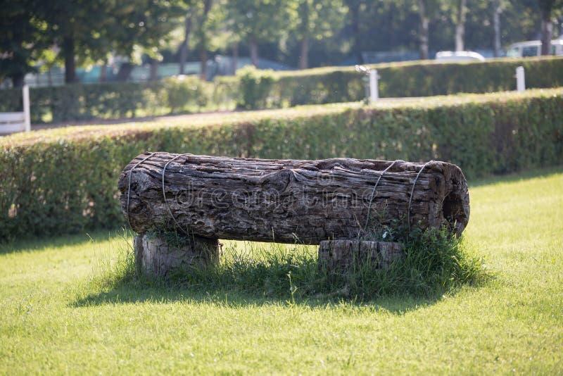 Ostacolo equestre: Tronco in una posizione orizzontale per la concorrenza di salto del cavallo immagini stock
