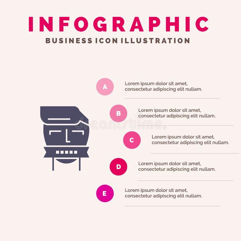 Ostaggio, bocca, avversario, chiusa, fondo solido di presentazione di punti di Infographics 5 dell'icona del terrorismo royalty illustrazione gratis