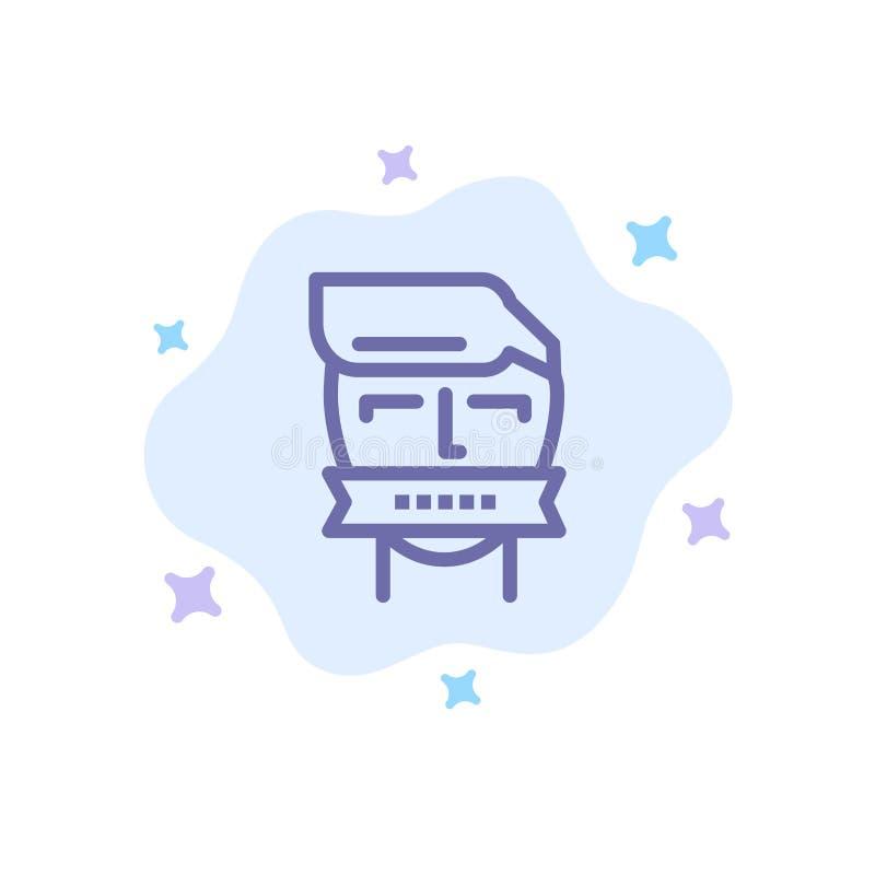 Ostaggio, bocca, avversario, chiusa, icona blu del terrorismo sul fondo astratto della nuvola illustrazione di stock