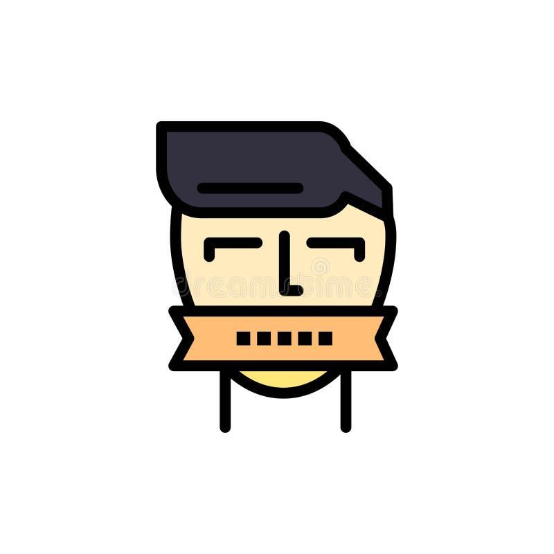 Ostaggio, bocca, avversario, chiusa, icona piana di colore del terrorismo Modello dell'insegna dell'icona di vettore illustrazione vettoriale