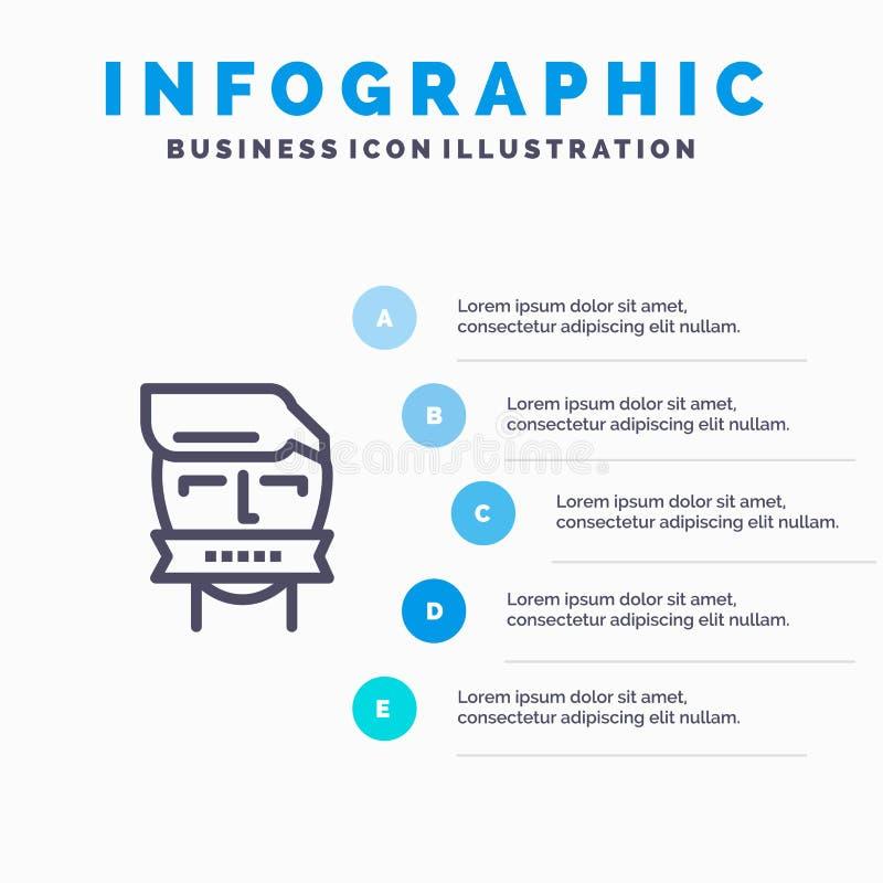 Ostaggio, bocca, avversario, chiusa, linea icona del terrorismo con il fondo di infographics di presentazione di 5 punti royalty illustrazione gratis