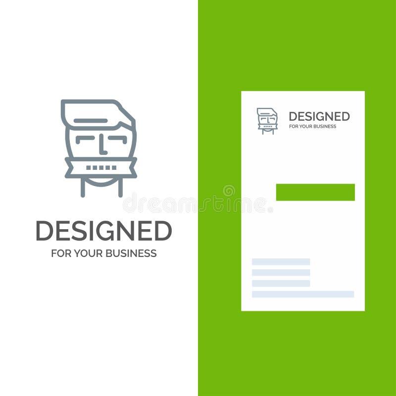 Ostaggio, bocca, oppositore, chiuso, il terrorismo Grey Logo Design e modello del biglietto da visita illustrazione vettoriale
