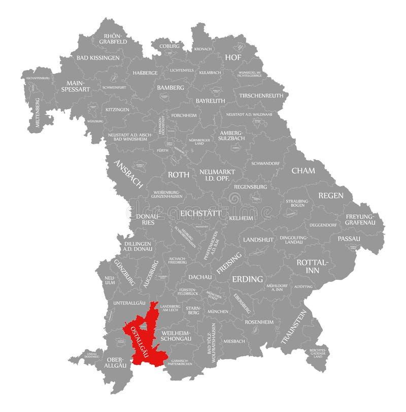 Ostallgaeu okręgu administracyjnego czerwień podkreślająca w mapie Bavaria Niemcy royalty ilustracja