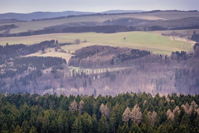 Ostas in Czech Republic. Landscape around Mount Ostas reserve in Table Mountains, part of Broumovsko protected area, Czech Republic, central, sudetes, czechia stock photos