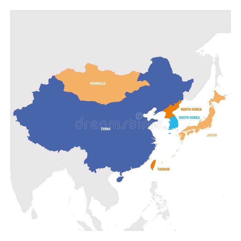 Ostasien-Region Karte von L?ndern in Ost-Asien Auch im corel abgehobenen Betrag stock abbildung