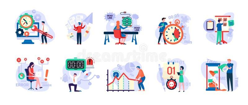 Ostatecznego terminu i czasu zarządzanie, ludzie w pośpiechu secie royalty ilustracja