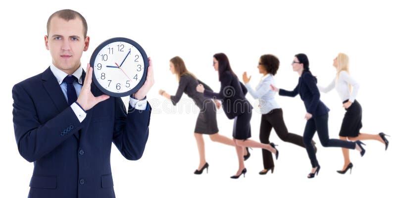 Ostatecznego terminu pojęcie - młody biznesmena mienia biura zegar i ru obraz stock