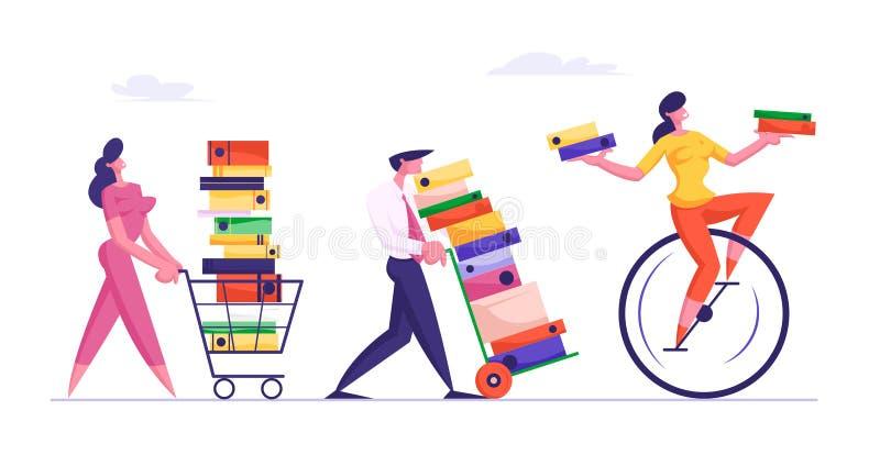 Ostatecznego terminu pojęcie z ludzie biznesu Niesie Ogromnych stosy dokumenty Po kobieta Jedzie Monowheel royalty ilustracja
