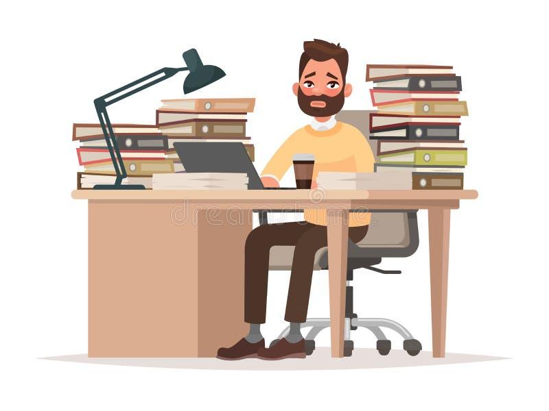Ostateczni terminy przy pracą Zmęczony urzędnika mężczyzna przy jego biurkiem z lo ilustracji
