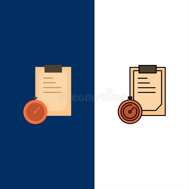 Ostateczny termin, biznes, planowanie, czas ikony Mieszkanie i linia Wypełniający ikony Ustalony Wektorowy Błękitny tło ilustracji