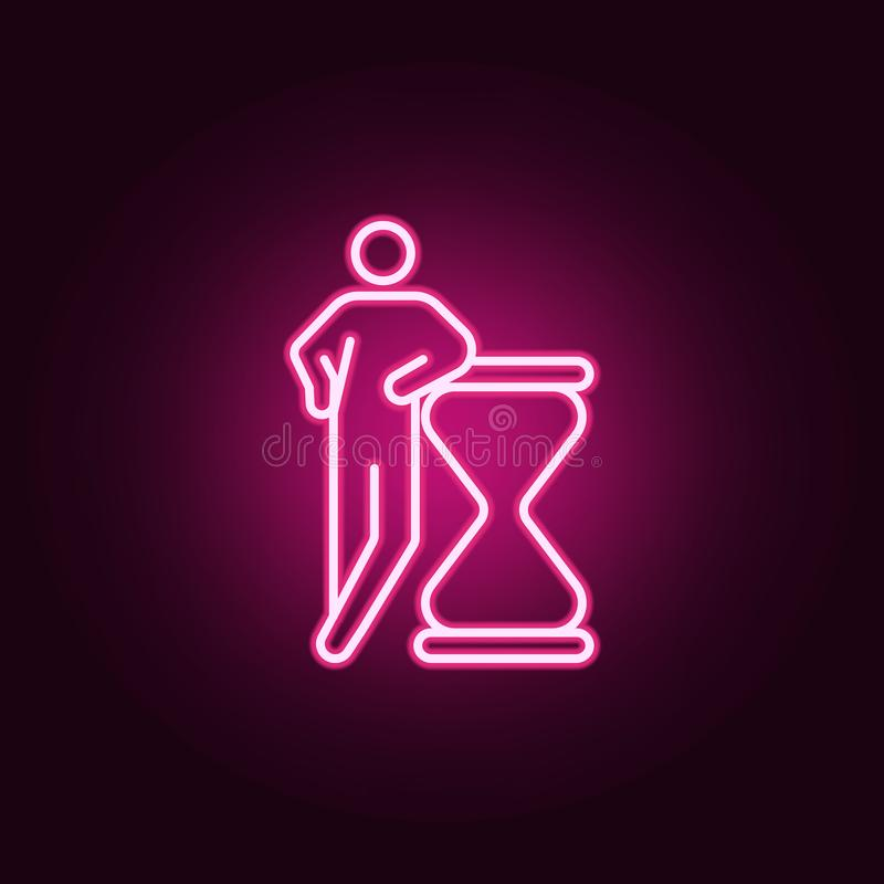 ostateczny termin, hourglass neonowa ikona Elementy konceptualne postacie ustawiać Prosta ikona dla stron internetowych, sieć pro ilustracji