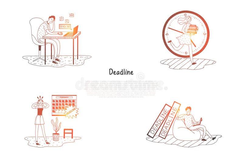 Ostateczny termin i zaakcentowani ludzie myśleć o praca ostatecznego terminu pojęcia wektorowym secie - sfrustowany ilustracja wektor
