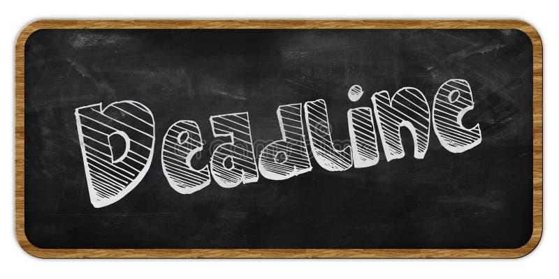OSTATECZNY TERMIN pisać w kredzie na blackboard ramowy drewna ilustracji