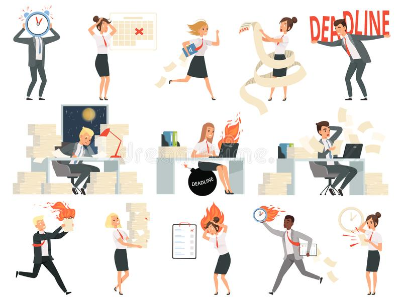 Ostatecznych terminów charaktery Biznesy przepracowywający się ludzie dyrektorów kierowników stresujący się i gnania niebezpiecze ilustracji