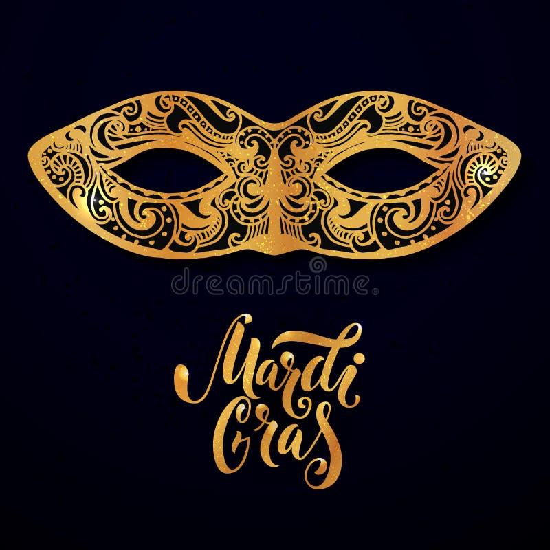 Ostatki maskują ilustrację Wektorowy złoty typ przy zmrokiem - błękitny tło Maskaradowy zaproszenie projekt royalty ilustracja
