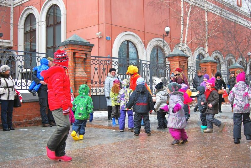 Ostatki (Maslenitsa, Naleśnikowy tydzień) świętowanie w Moskwa zdjęcia royalty free