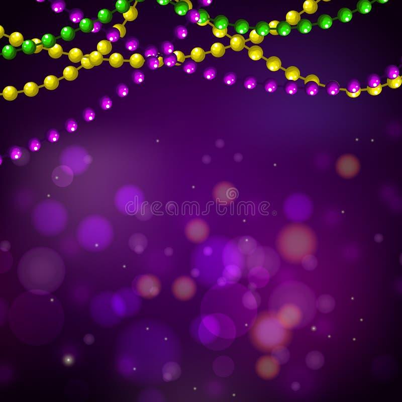 Ostatki paciorkowate girlandy i bokeh karciany wektorowy purpurowy tło ilustracja wektor