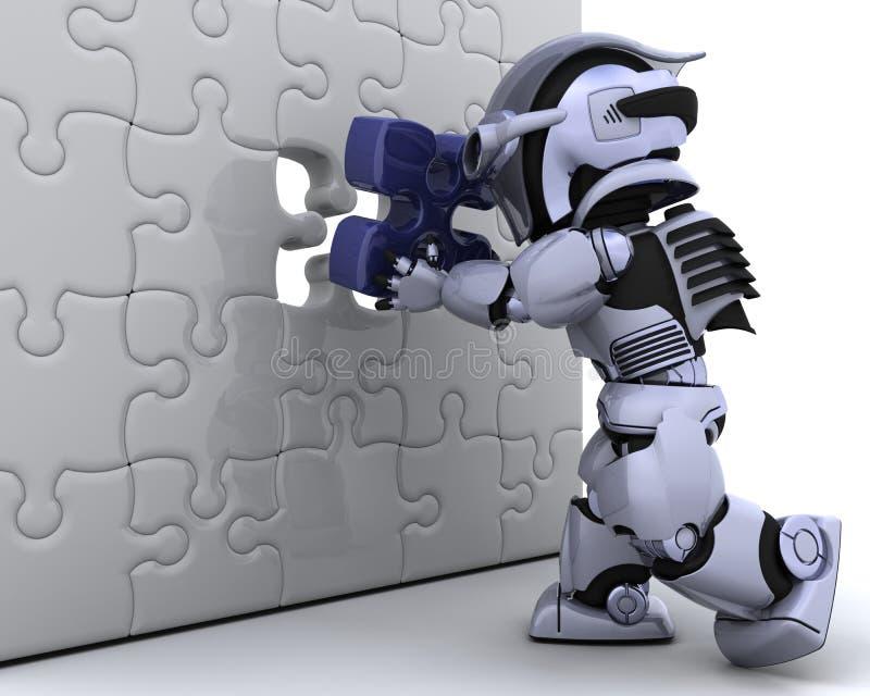 ostatniego elementu łamigłówki robot royalty ilustracja