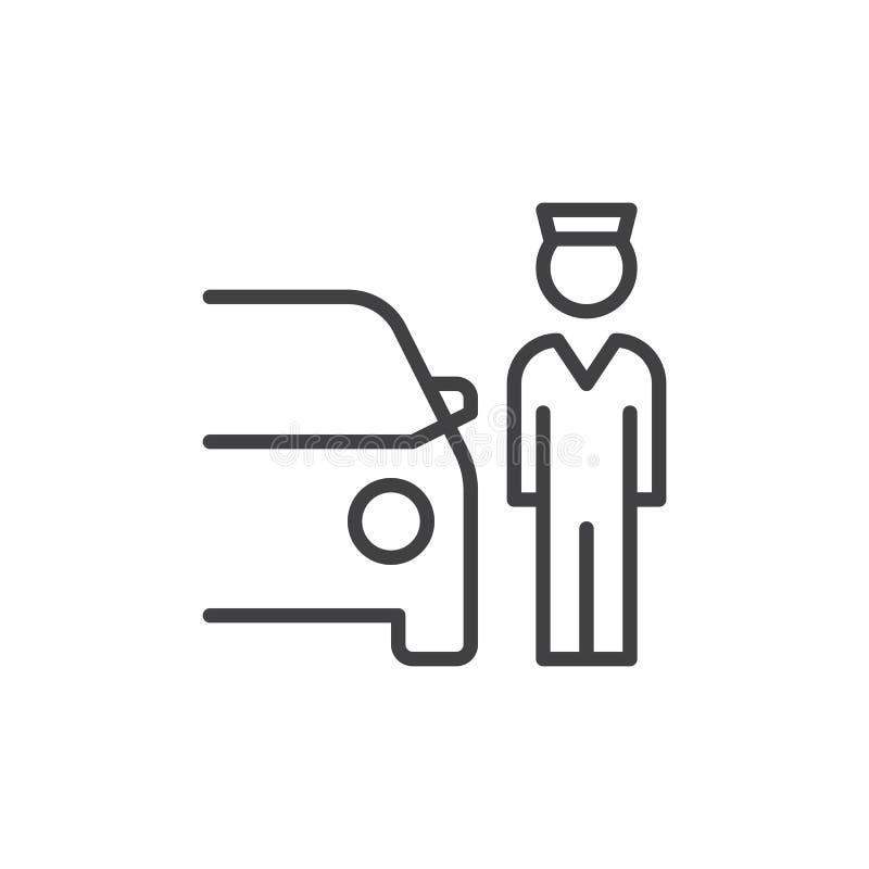 Ostawianie Samochodu Na Parking Przez Obsługę kreskowa ikona royalty ilustracja
