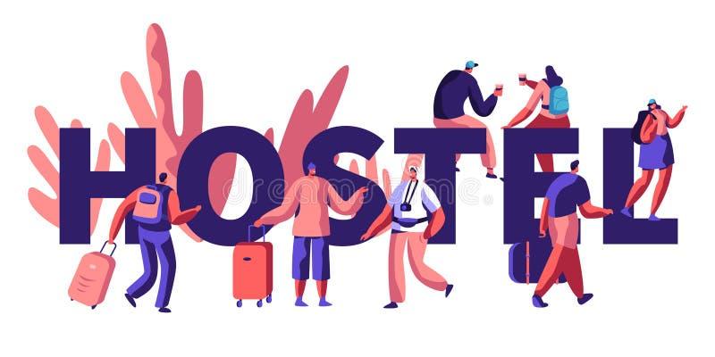 Ostello per l'insegna turistica Arrivo del carattere per la città di visita Prezzo più basso, posto economico per vivere o notte  illustrazione di stock