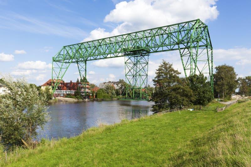 Osten transporter bridge. Historic transporter bridge at Osten, Lower Saxony, Germany royalty free stock photo