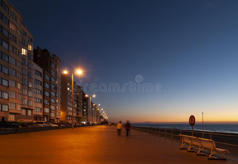 Ostend waterfront Promenade at Night, Belgium royalty free stock photos
