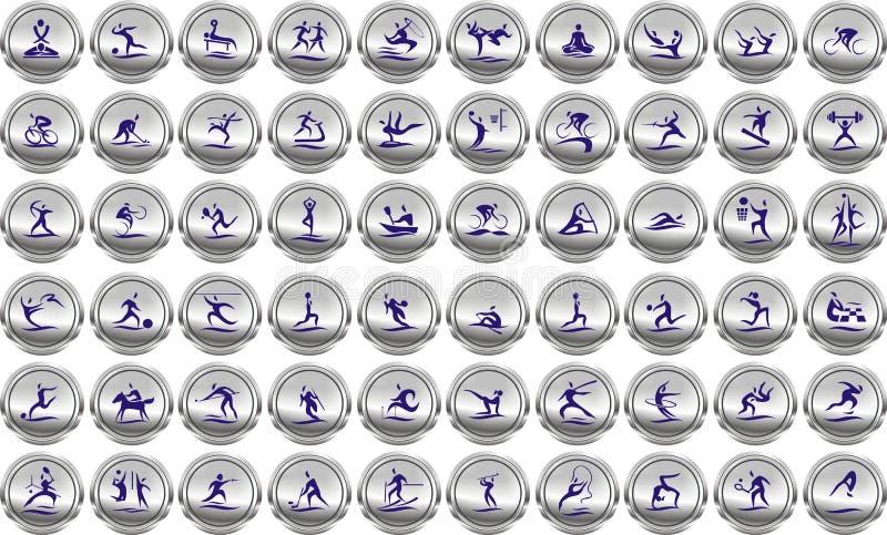 Ostenta ícones nos botões de prata da Web ilustração do vetor