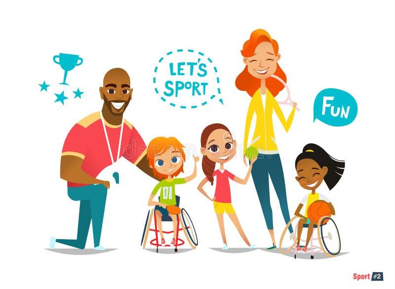 Ostenta a família As crianças deficientes nas cadeiras de rodas que jogam a bola e têm o divertimento com seu amigo treinar ilustração stock