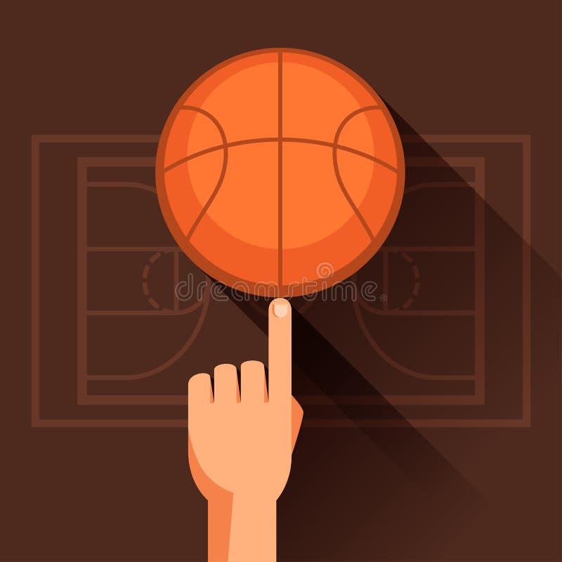 Ostenta a ilustração do basquetebol de giro da mão ilustração royalty free