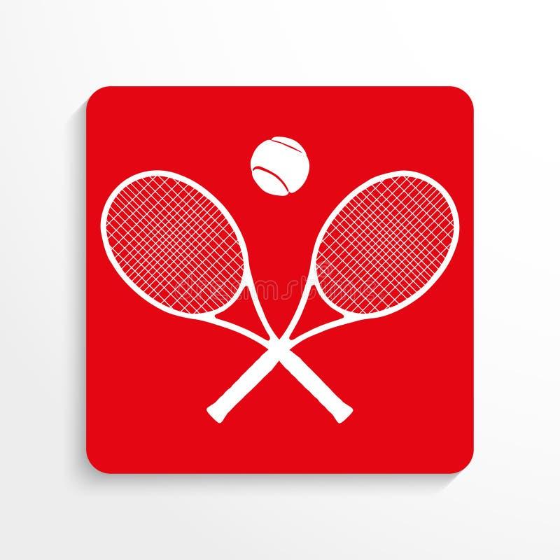 Ostenta o símbolo tênis Engrena o ícone Imagem vermelha e branca em um fundo claro com uma sombra ilustração royalty free