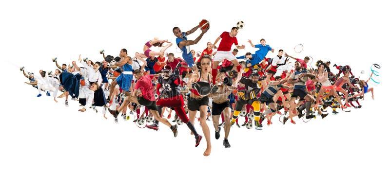 Ostente a colagem sobre kickboxing, futebol, futebol americano, basquetebol, hóquei em gelo, badminton, taekwondo, tênis, rugby fotos de stock royalty free