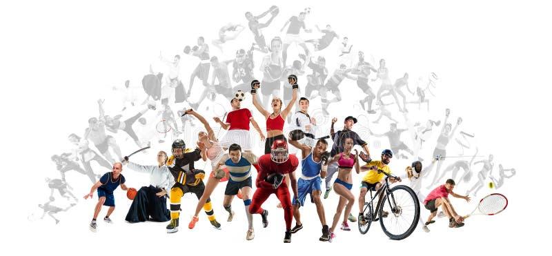 Ostente a colagem sobre kickboxing, futebol, futebol americano, basquetebol, hóquei em gelo, badminton, taekwondo, tênis, rugby fotos de stock