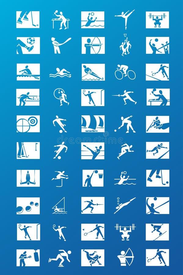 Coleção dos ícones do esporte ilustração do vetor