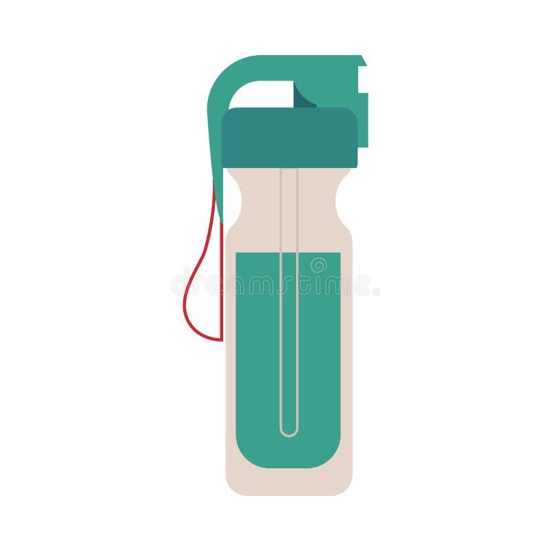Ostente a garrafa com a bebida isolada no fundo branco Equipamento plástico com agua potável para o sportsperson e o ciclista ilustração stock