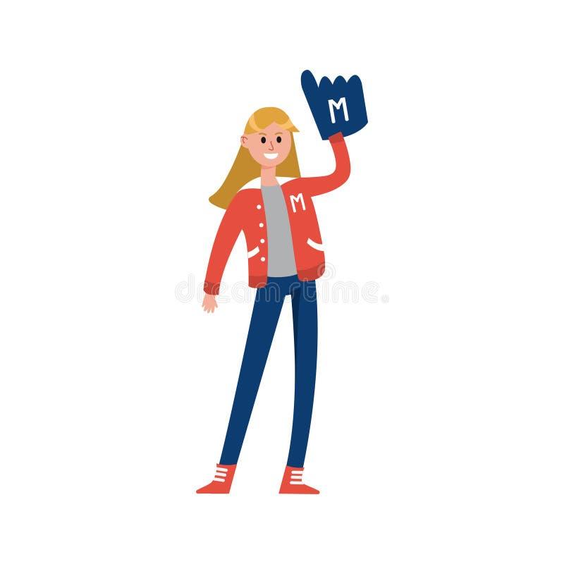 Ostente a mão estando e de aumentação da menina do divertimento com personagem de banda desenhada da luva do dedo da espuma, supo ilustração royalty free