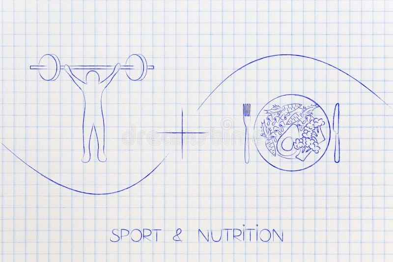Ostente mais a nutrição, o levantamento de peso e comer de saladas fotografia de stock