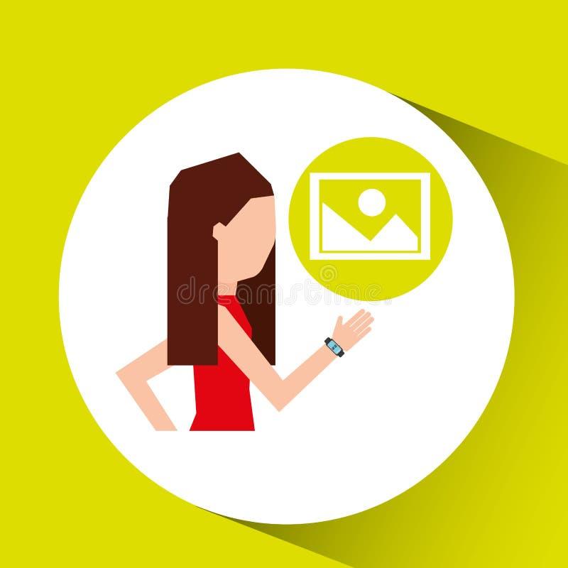 Ostente a menina que corre com ícone esperto da imagem do relógio ilustração royalty free