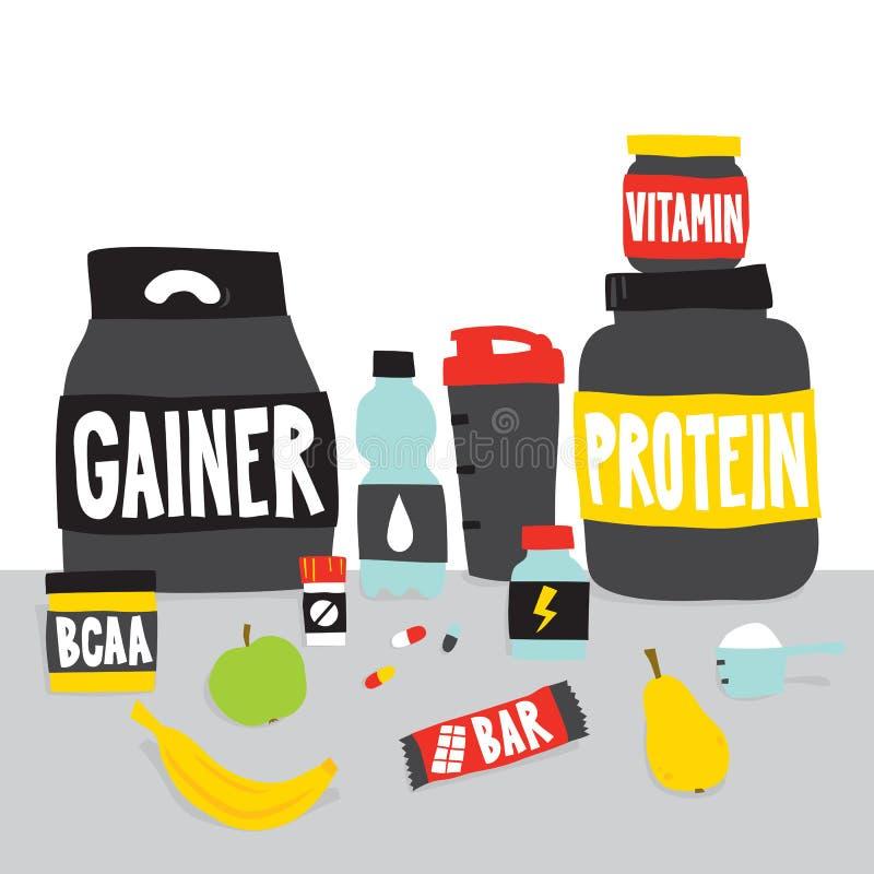 Ostente a nutrição dos alimentos e frutifique ilustração do vetor dos desenhos animados ilustração do vetor