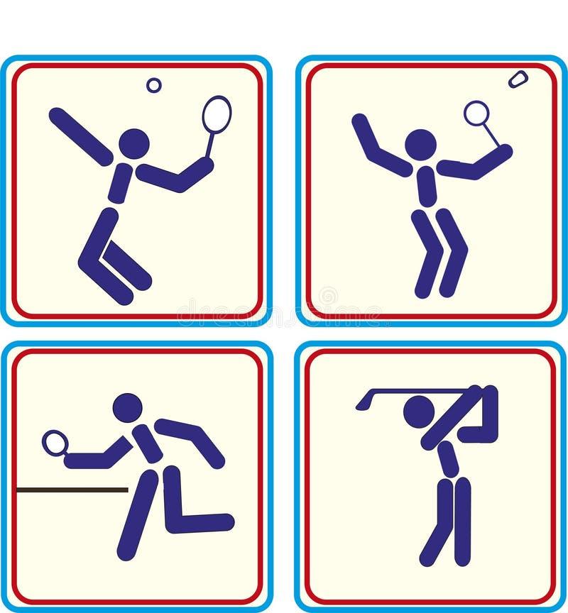 Ostente o golfe, tênis do badminton, ícone do pong do sibilo ilustração stock